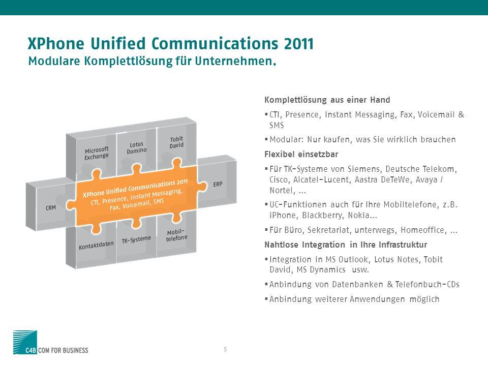 5 XPhone Unified Communications 2011 Modulare Komplettlösung für Unternehmen. Komplettlösung aus einer Hand CTI, Presence, Instant Messaging, Fax, Voi
