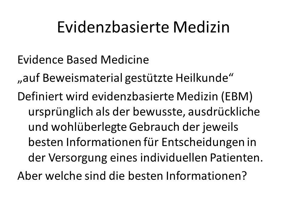 Evidenzbasierte Medizin Evidence Based Medicine auf Beweismaterial gestützte Heilkunde Definiert wird evidenzbasierte Medizin (EBM) ursprünglich als d