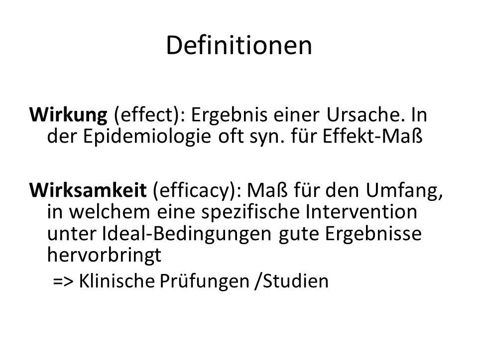Definitionen Wirkung (effect): Ergebnis einer Ursache. In der Epidemiologie oft syn. für Effekt-Maß Wirksamkeit (efficacy): Maß für den Umfang, in wel