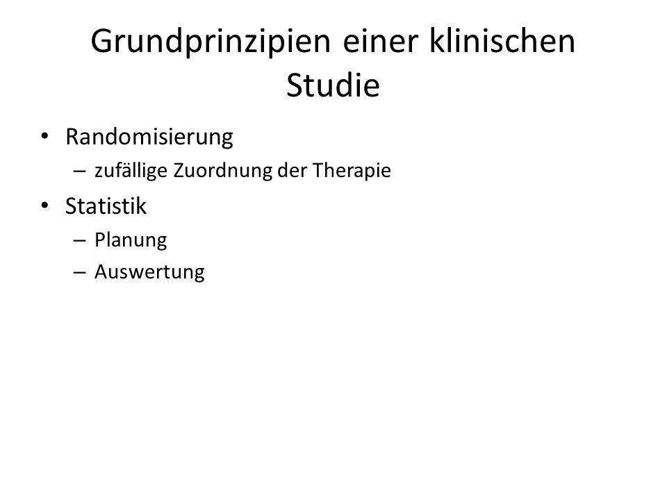 Grundprinzipien einer klinischen Studie Randomisierung – zufällige Zuordnung der Therapie Statistik – Planung – Auswertung