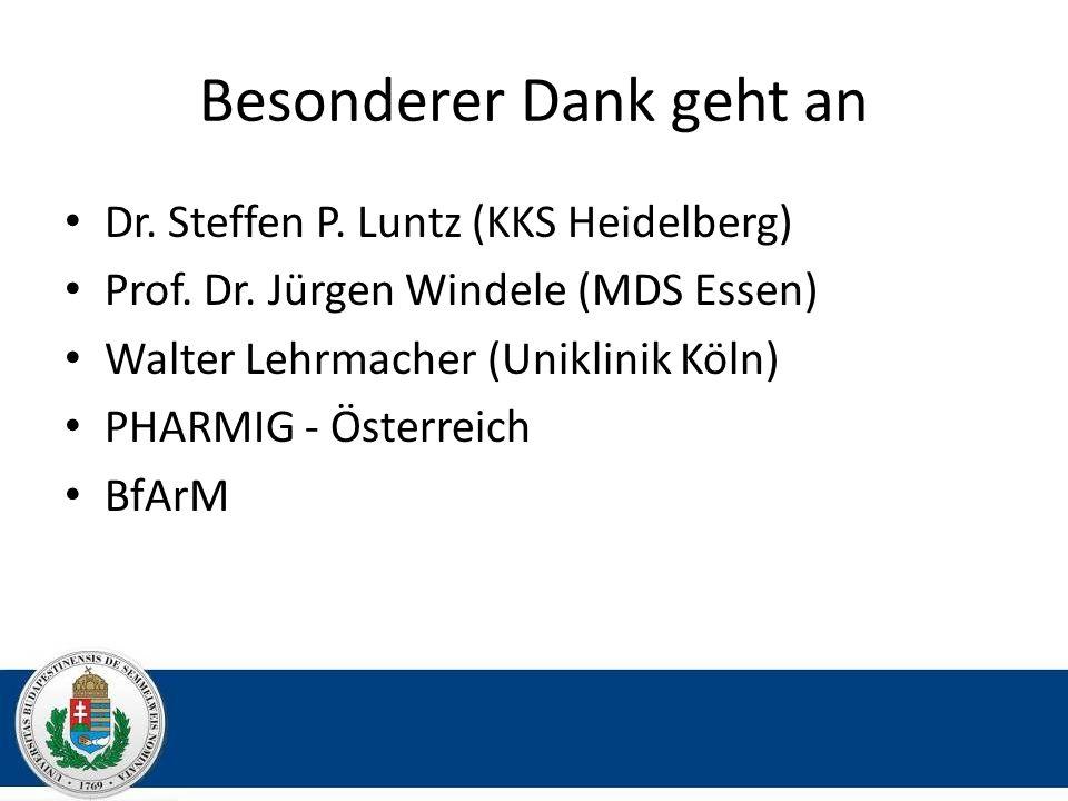 Besonderer Dank geht an Dr. Steffen P. Luntz (KKS Heidelberg) Prof. Dr. Jürgen Windele (MDS Essen) Walter Lehrmacher (Uniklinik Köln) PHARMIG - Österr