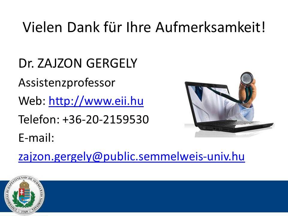 Vielen Dank für Ihre Aufmerksamkeit! Dr. ZAJZON GERGELY Assistenzprofessor Web: http://www.eii.huhttp://www.eii.hu Telefon: +36-20-2159530 E-mail: zaj