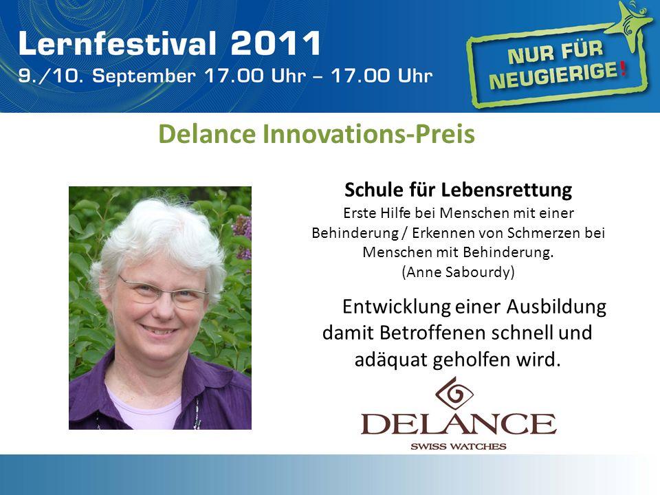 Delance Innovations-Preis Schule für Lebensrettung Erste Hilfe bei Menschen mit einer Behinderung / Erkennen von Schmerzen bei Menschen mit Behinderun