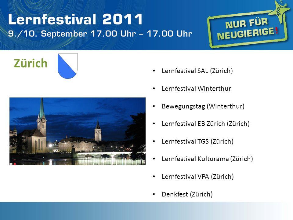Zürich Lernfestival SAL (Zürich) Lernfestival Winterthur Bewegungstag (Winterthur) Lernfestival EB Zürich (Zürich) Lernfestival TGS (Zürich) Lernfesti