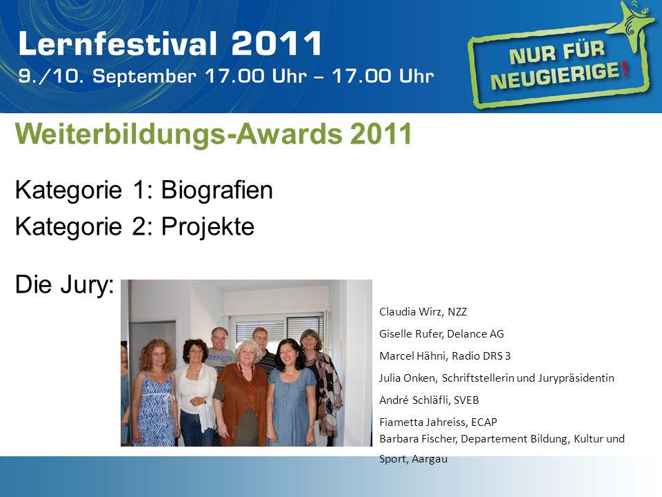 Weiterbildungs-Awards 2011 Kategorie 1: Biografien Kategorie 2: Projektew h Die Jury: Claudia Wirz, NZZ Giselle Rufer, Delance AG Marcel Hähni, Radio