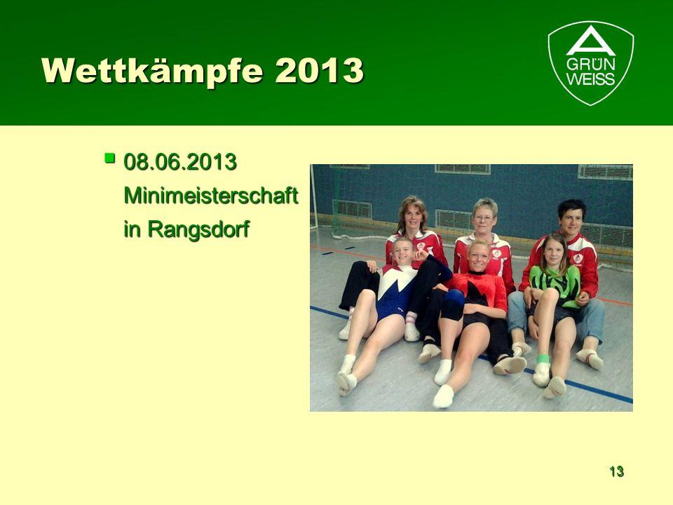 13 Wettkämpfe 2013 08.06.2013 Minimeisterschaft in Rangsdorf 08.06.2013 Minimeisterschaft in Rangsdorf