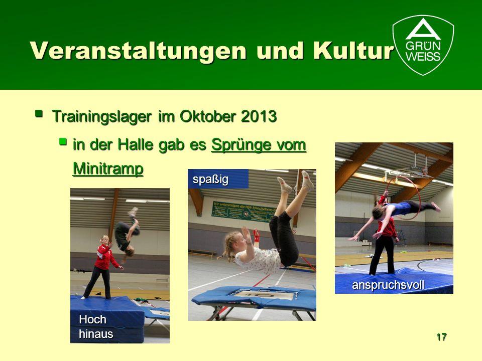 17 Veranstaltungen und Kultur Trainingslager im Oktober 2013 Trainingslager im Oktober 2013 in der Halle gab es Sprünge vom Minitramp in der Halle gab