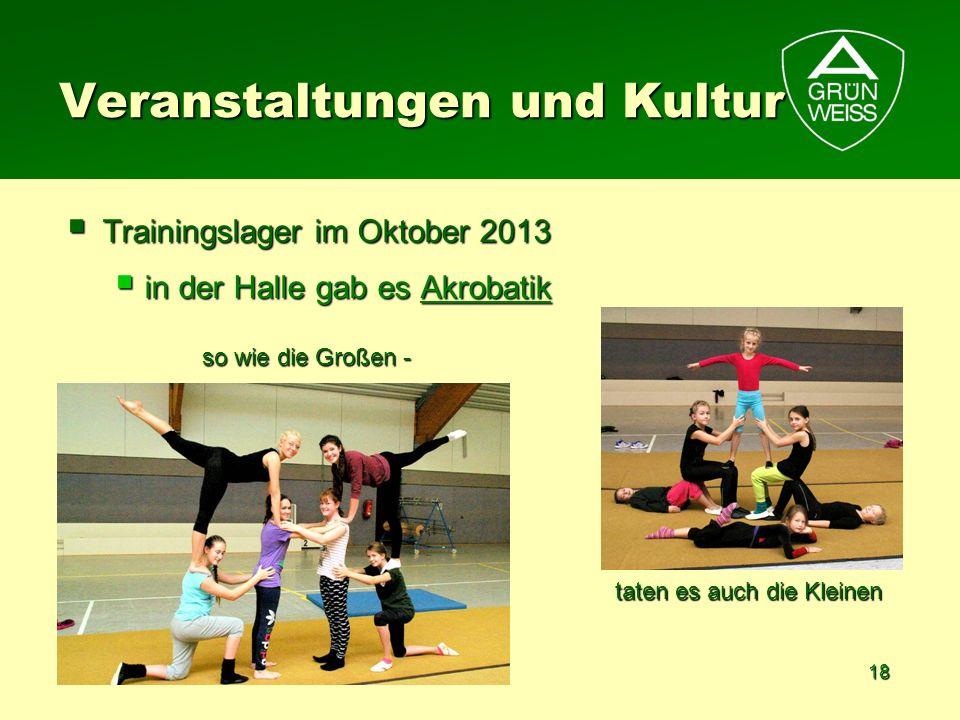 18 Veranstaltungen und Kultur Trainingslager im Oktober 2013 Trainingslager im Oktober 2013 in der Halle gab es Akrobatik in der Halle gab es Akrobati