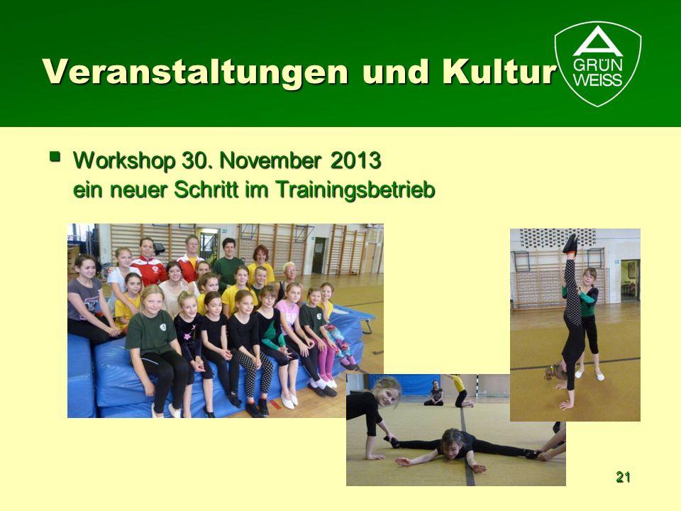 21 Workshop 30. November 2013 ein neuer Schritt im Trainingsbetrieb Workshop 30. November 2013 ein neuer Schritt im Trainingsbetrieb Veranstaltungen u