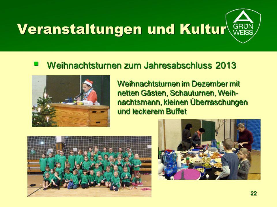 22 Weihnachtsturnen zum Jahresabschluss 2013 Weihnachtsturnen zum Jahresabschluss 2013 Veranstaltungen und Kultur Weihnachtsturnen im Dezember mit net