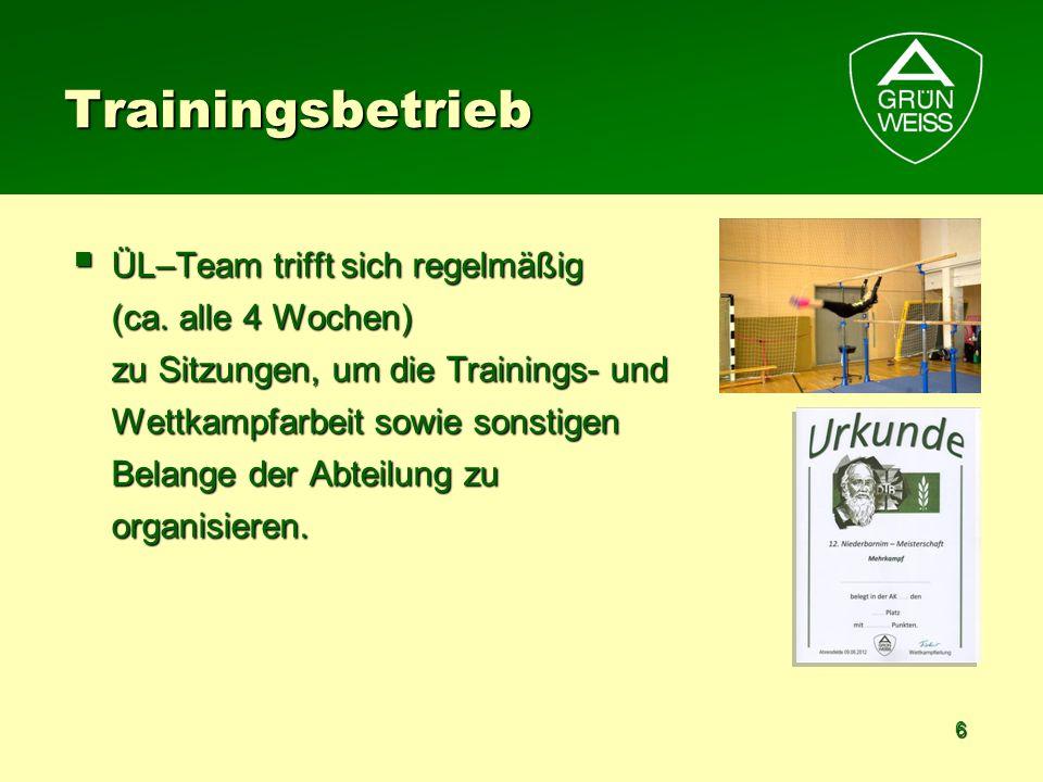 6 Trainingsbetrieb ÜL–Team trifft sich regelmäßig (ca. alle 4 Wochen) zu Sitzungen, um die Trainings- und Wettkampfarbeit sowie sonstigen Belange der
