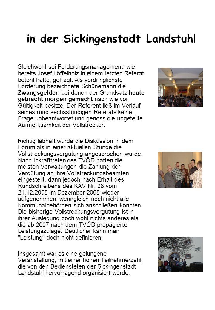 Allgemeines Der Vollstreckungsbeamtenlehrgang 2006 Der Ausbildungslehrgang für Vollstreckungsbeamte fand vom 04.09.2006 bis zum 15.09.2006 in der Pfalz Akademie in Lambrecht statt.