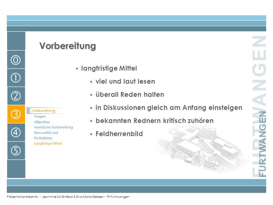 Präsentationstechnik - Jeannine Schönfeldt & Eva-Maria Weisser – FH Furtwangen Nervosität und Notfallplan Adrenalinstoss ist gut kein Zeitdruck (15 Mi
