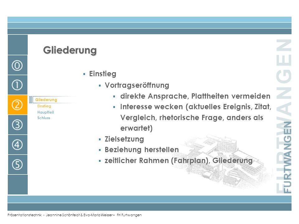 Präsentationstechnik - Jeannine Schönfeldt & Eva-Maria Weisser – FH Furtwangen Überblick Überblick Warum? Was? Wie?