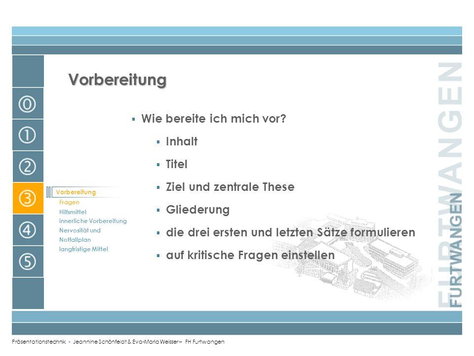Präsentationstechnik - Jeannine Schönfeldt & Eva-Maria Weisser – FH Furtwangen Schluss Zusammenfassung (Kerngedanken hervorheben) Ausblick in die Zuku