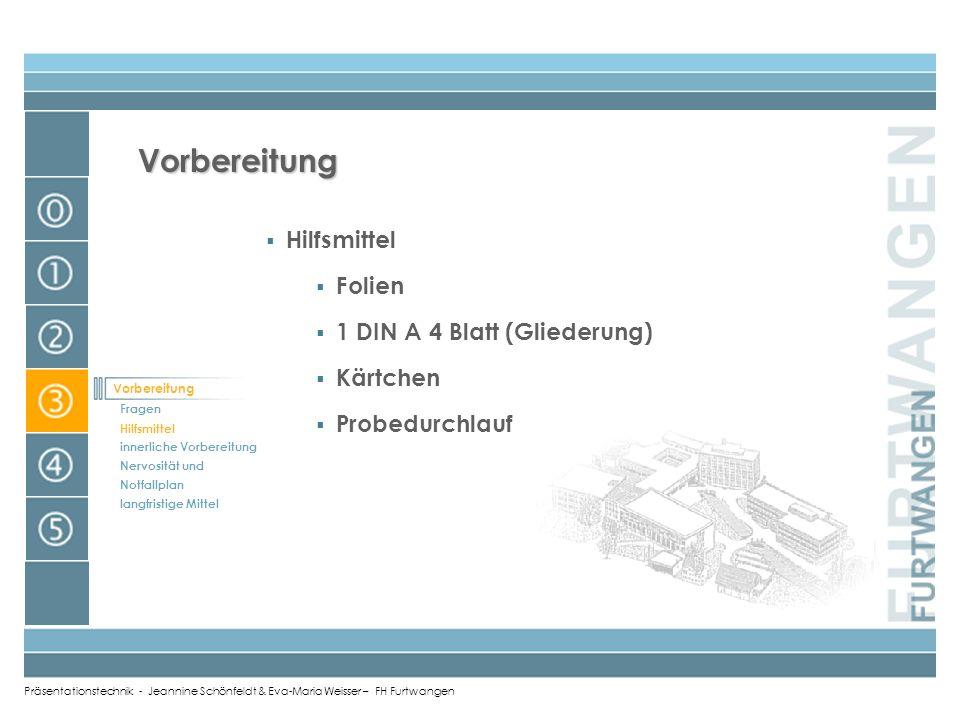 Präsentationstechnik - Jeannine Schönfeldt & Eva-Maria Weisser – FH Furtwangen Wie bereite ich mich vor? Inhalt Titel Ziel und zentrale These Gliederu