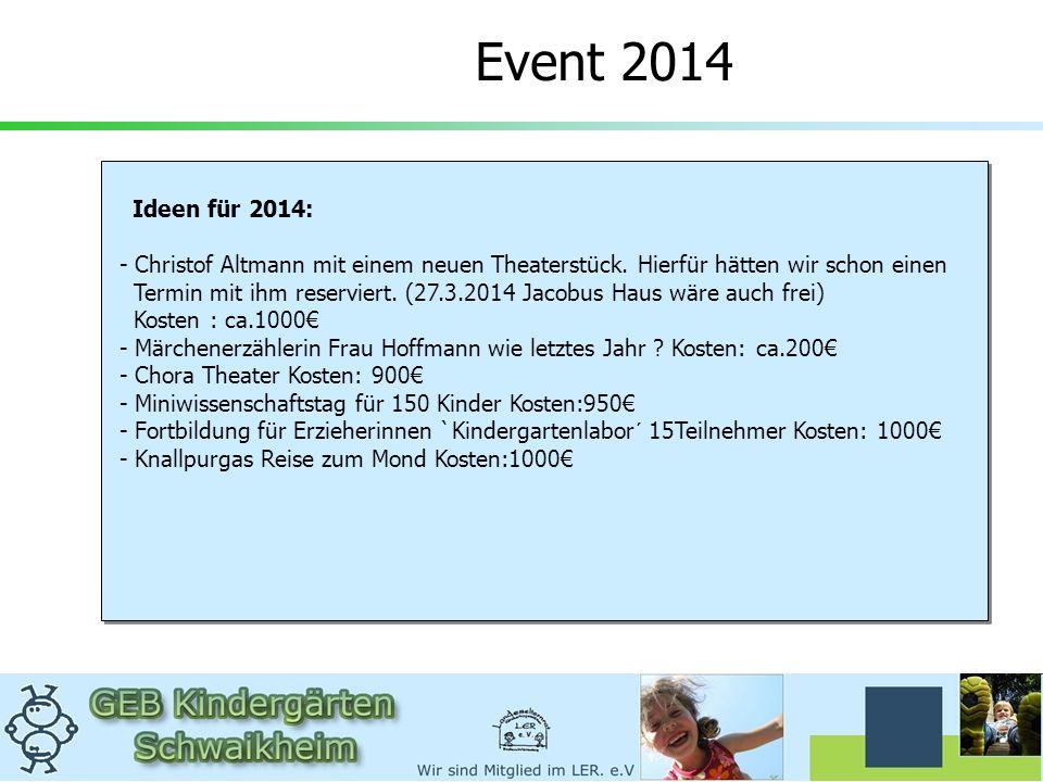 Event 2014 Ideen für 2014: - Christof Altmann mit einem neuen Theaterstück. Hierfür hätten wir schon einen Termin mit ihm reserviert. (27.3.2014 Jacob