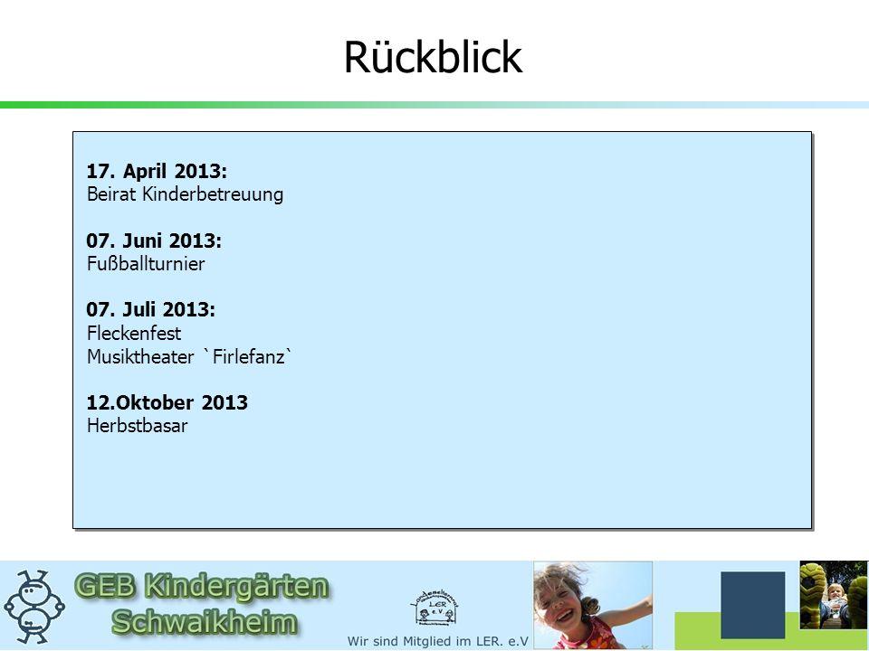17. April 2013: Beirat Kinderbetreuung 07. Juni 2013: Fußballturnier 07. Juli 2013: Fleckenfest Musiktheater `Firlefanz` 12.Oktober 2013 Herbstbasar 1