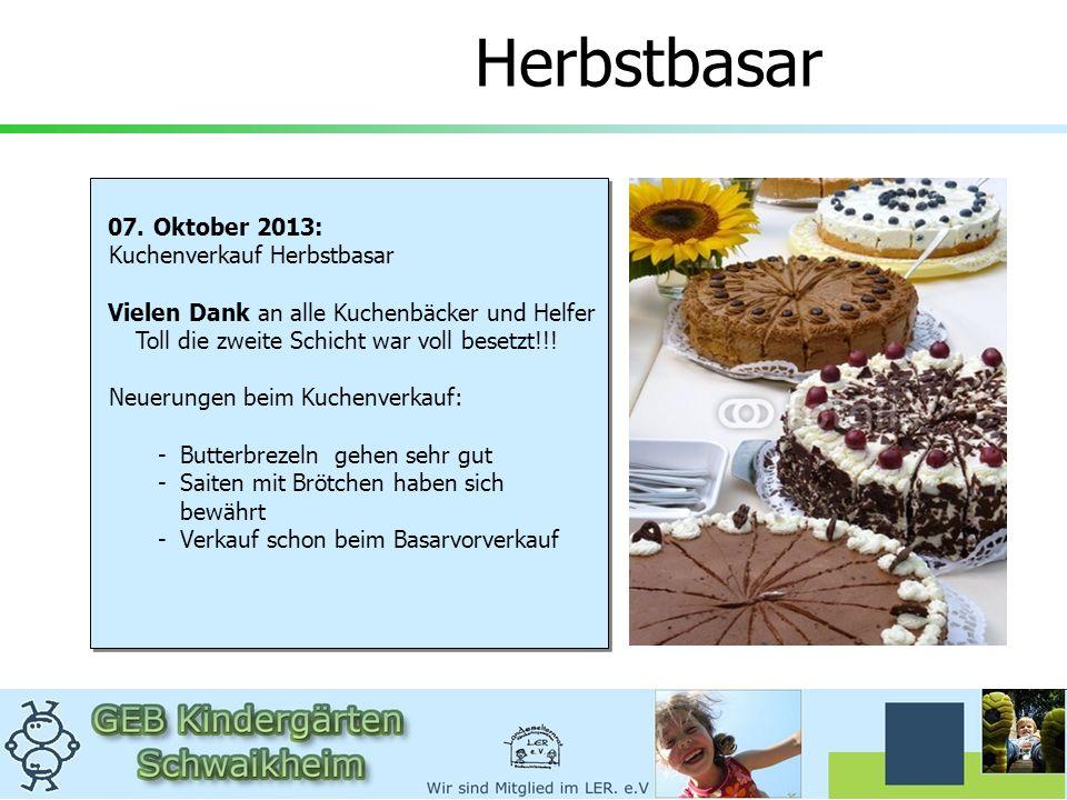 Herbstbasar 07. Oktober 2013: Kuchenverkauf Herbstbasar Vielen Dank an alle Kuchenbäcker und Helfer Toll die zweite Schicht war voll besetzt!!! Neueru