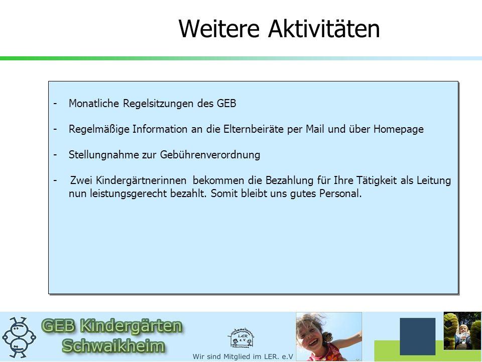 Weitere Aktivitäten -Monatliche Regelsitzungen des GEBMonatliche Regelsitzungen des GEB -Regelmäßige Information an die Elternbeiräte per Mail und übe