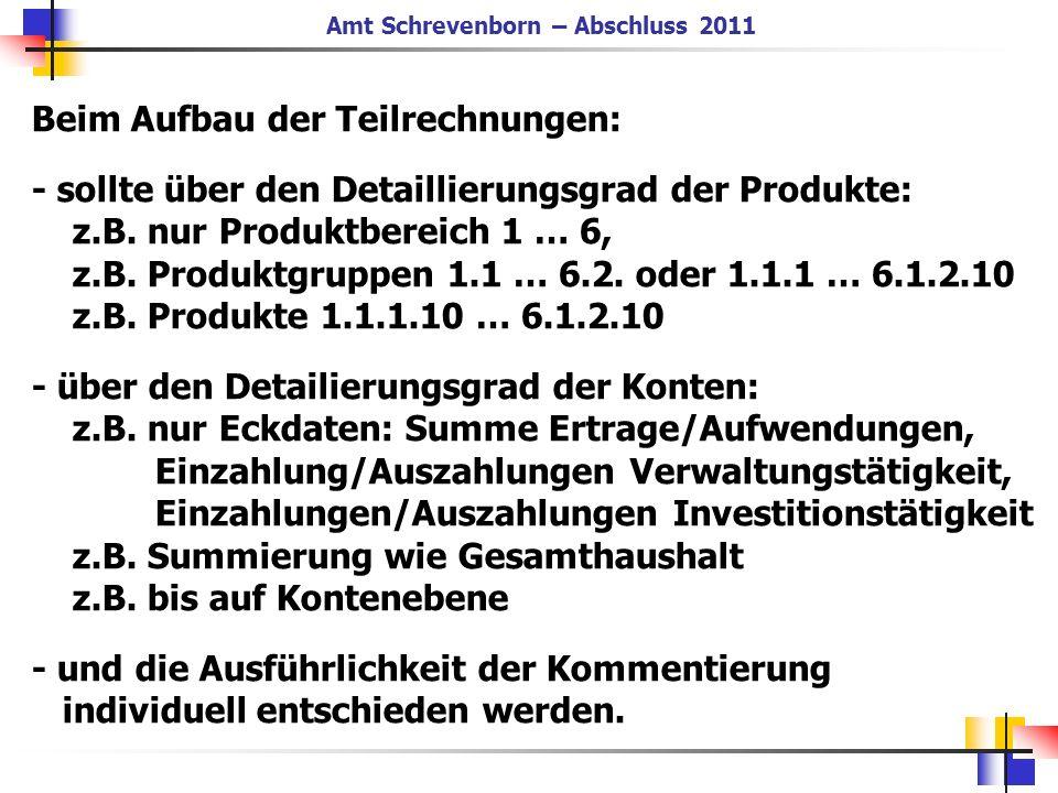 Beim Aufbau der Teilrechnungen: - sollte über den Detaillierungsgrad der Produkte: z.B. nur Produktbereich 1 … 6, z.B. Produktgruppen 1.1 … 6.2. oder
