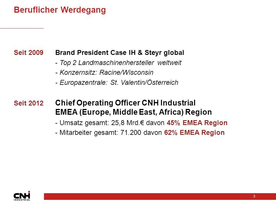 Seit 2009Brand President Case IH & Steyr global - Top 2 Landmaschinenhersteller weltweit - Konzernsitz: Racine/Wisconsin - Europazentrale: St.