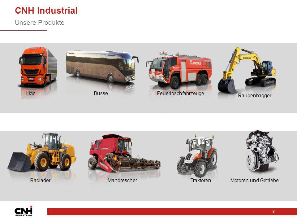 CNH Industrial Unsere Produkte 8 LkwBusseFeuerlöschfahrzeuge Raupenbagger RadladerMähdrescherTraktorenMotoren und Getriebe