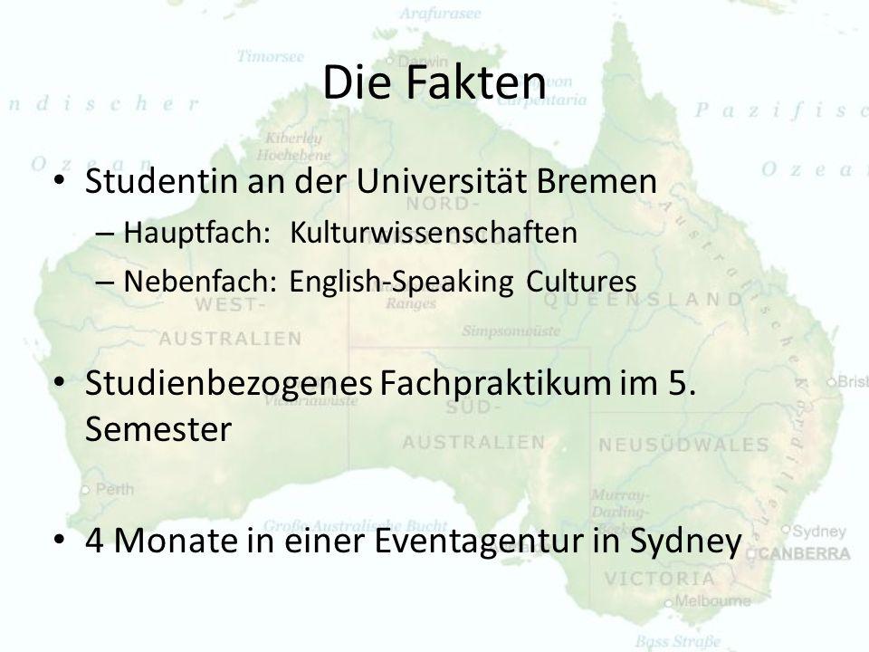 Die Fakten Studentin an der Universität Bremen – Hauptfach: Kulturwissenschaften – Nebenfach: English-Speaking Cultures Studienbezogenes Fachpraktikum
