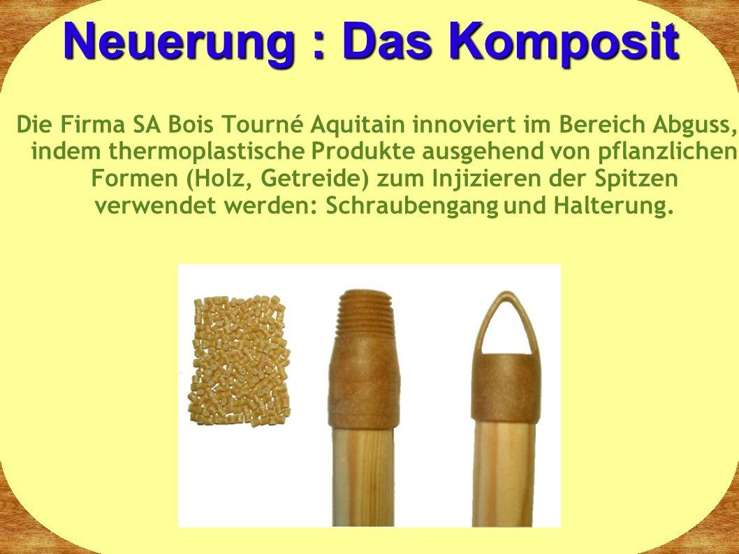 Die Firma SA Bois Tourné Aquitain innoviert im Bereich Abguss, indem thermoplastische Produkte ausgehend von pflanzlichen Formen (Holz, Getreide) zum Injizieren der Spitzen verwendet werden: Schraubengang und Halterung.