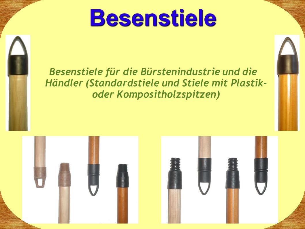 Besenstiele für die Bürstenindustrie und die Händler (Standardstiele und Stiele mit Plastik- oder Kompositholzspitzen) Besenstiele