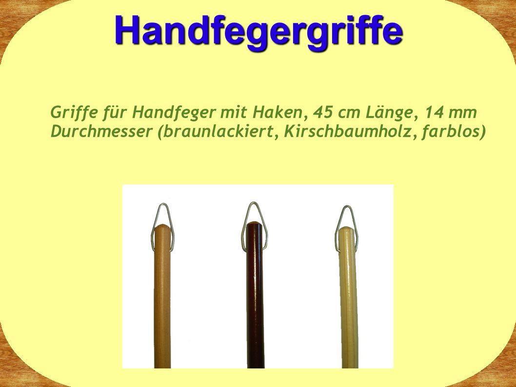 Griffe für Handfeger mit Haken, 45 cm Länge, 14 mm Durchmesser (braunlackiert, Kirschbaumholz, farblos) Handfegergriffe