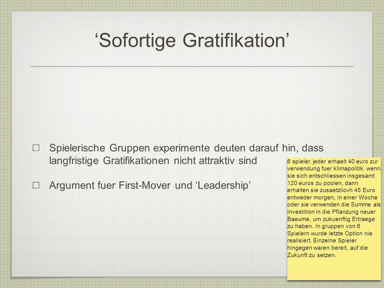 Sofortige Gratifikation Spielerische Gruppen experimente deuten darauf hin, dass langfristige Gratifikationen nicht attraktiv sind Argument fuer First-Mover und Leadership 6 spieler.