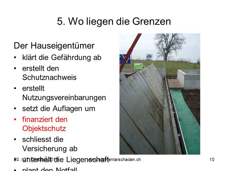 20. / 27. Oktober 2010 www.elementarschaden.ch 10 5. Wo liegen die Grenzen Der Hauseigentümer klärt die Gefährdung ab erstellt den Schutznachweis erst