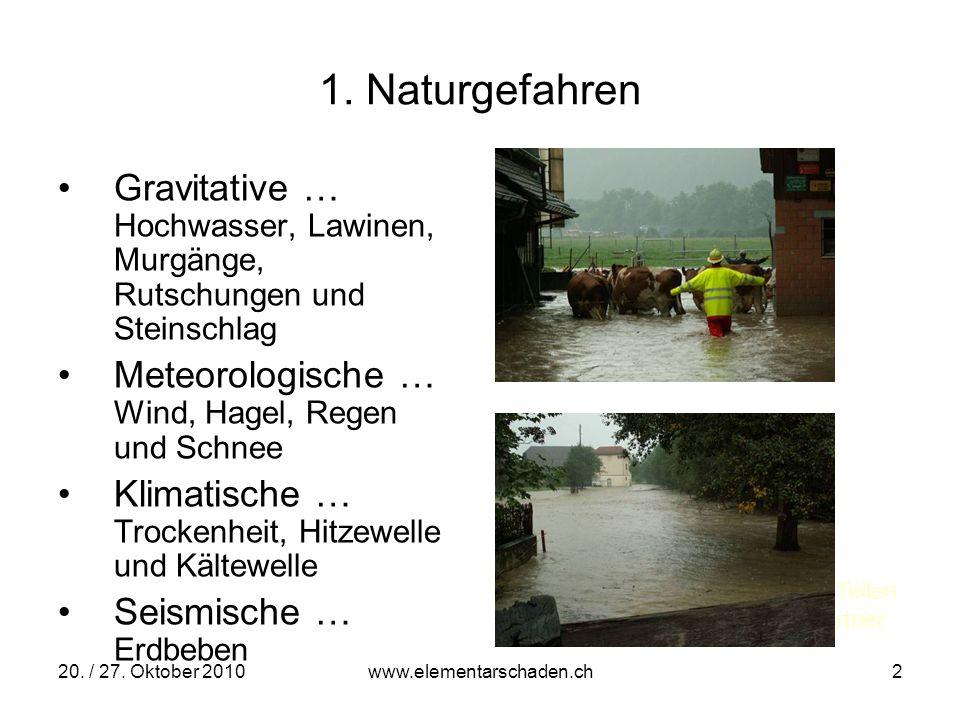 20. / 27. Oktober 2010 www.elementarschaden.ch 2 1. Naturgefahren Gravitative … Hochwasser, Lawinen, Murgänge, Rutschungen und Steinschlag Meteorologi