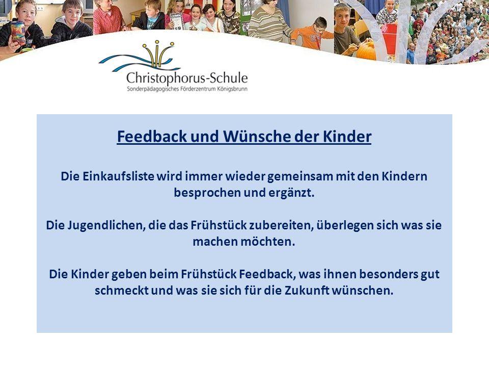 Feedback und Wünsche der Kinder Die Einkaufsliste wird immer wieder gemeinsam mit den Kindern besprochen und ergänzt. Die Jugendlichen, die das Frühst