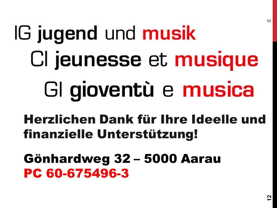 12 11 Herzlichen Dank für Ihre Ideelle und finanzielle Unterstützung! Gönhardweg 32 – 5000 Aarau PC 60-675496-3