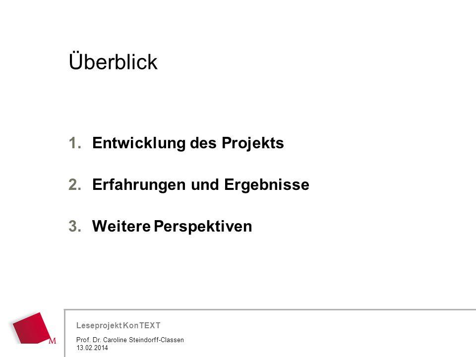 Hier wird der Titel der Präsentation wiederholt (Ansicht >Folienmaster) Leseprojekt KonTEXT Überblick 1.Entwicklung des Projekts 2.Erfahrungen und Erg