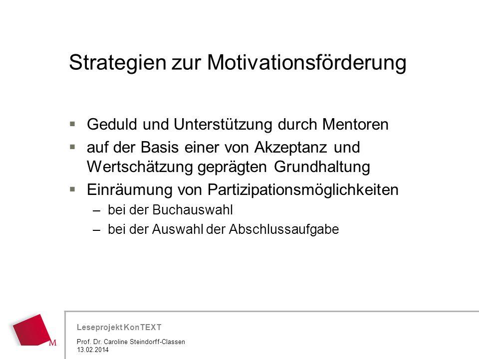 Hier wird der Titel der Präsentation wiederholt (Ansicht >Folienmaster) Leseprojekt KonTEXT Strategien zur Motivationsförderung Geduld und Unterstützu