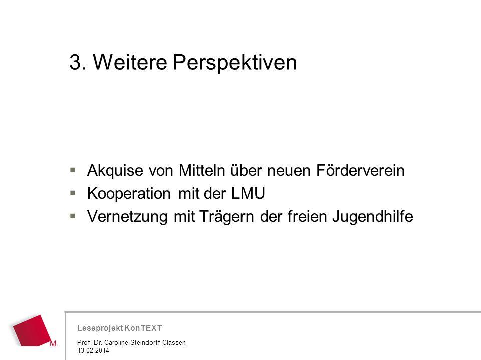 Hier wird der Titel der Präsentation wiederholt (Ansicht >Folienmaster) Leseprojekt KonTEXT 3. Weitere Perspektiven Akquise von Mitteln über neuen För