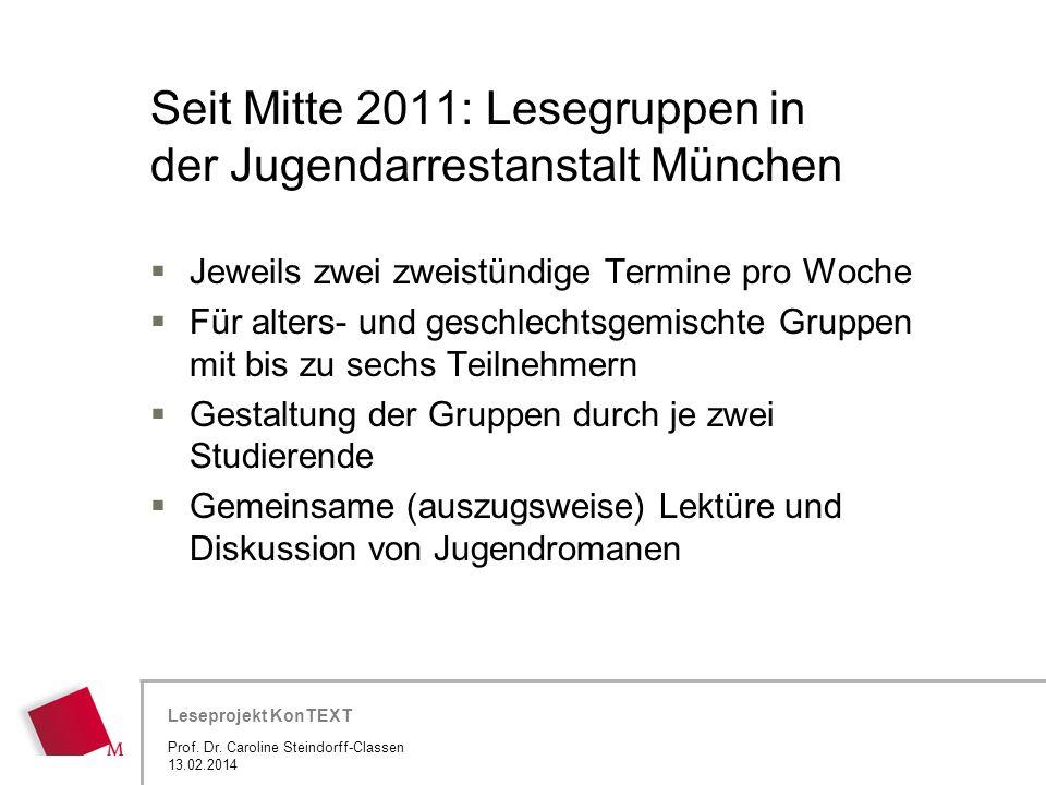 Hier wird der Titel der Präsentation wiederholt (Ansicht >Folienmaster) Leseprojekt KonTEXT Seit Mitte 2011: Lesegruppen in der Jugendarrestanstalt Mü