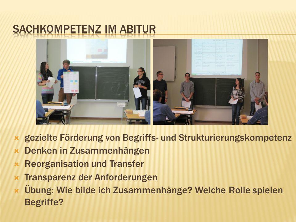 gezielte Förderung von Begriffs- und Strukturierungskompetenz Denken in Zusammenhängen Reorganisation und Transfer Transparenz der Anforderungen Übung