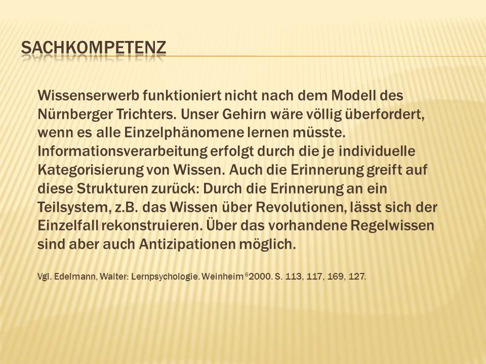 Wissenserwerb funktioniert nicht nach dem Modell des Nürnberger Trichters. Unser Gehirn wäre völlig überfordert, wenn es alle Einzelphänomene lernen m