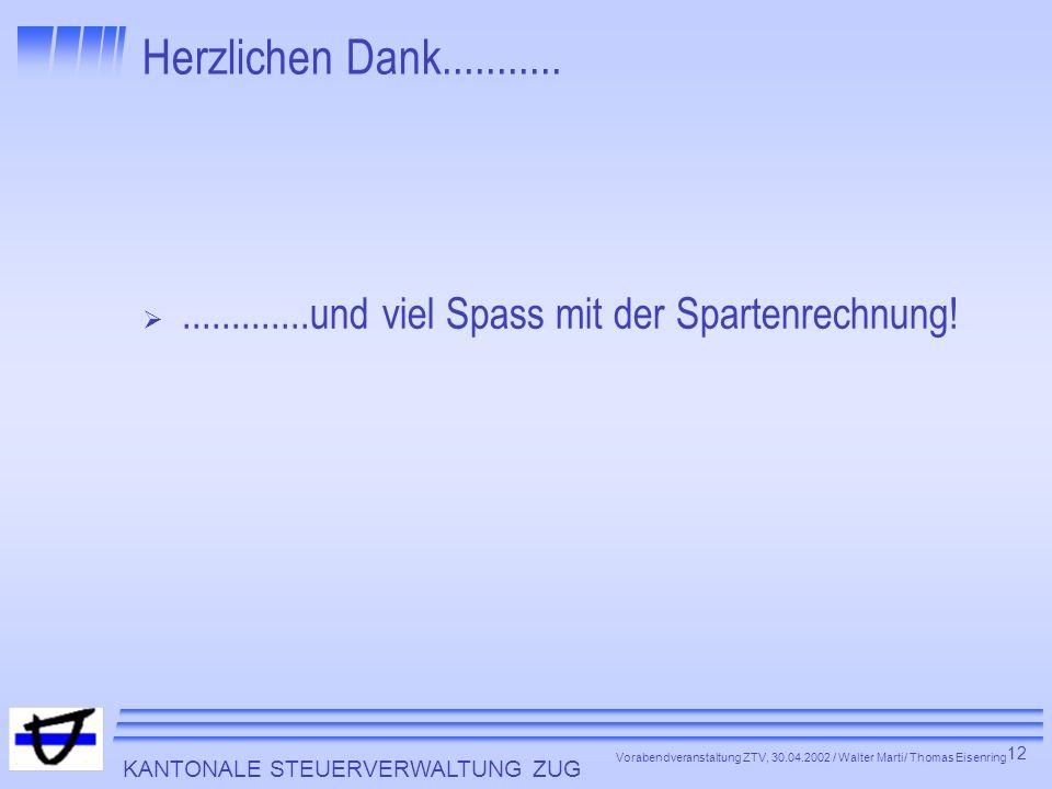 KANTONALE STEUERVERWALTUNG ZUG 12 Vorabendveranstaltung ZTV, 30.04.2002 / Walter Marti/ Thomas Eisenring Herzlichen Dank........................und vi