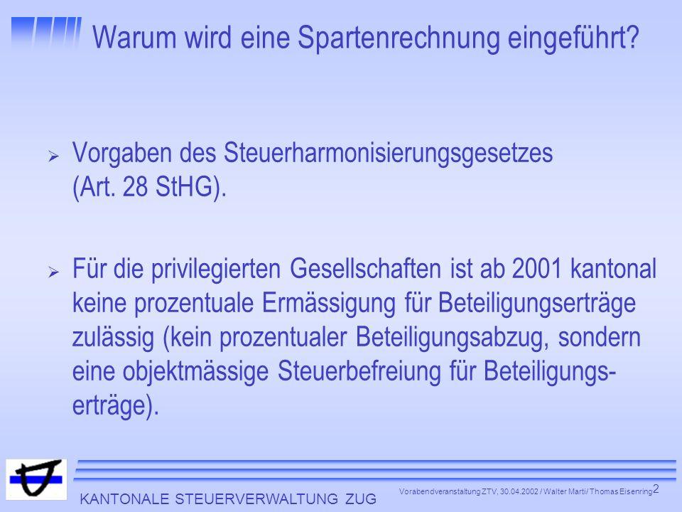 KANTONALE STEUERVERWALTUNG ZUG 2 Vorabendveranstaltung ZTV, 30.04.2002 / Walter Marti/ Thomas Eisenring Warum wird eine Spartenrechnung eingeführt? Vo