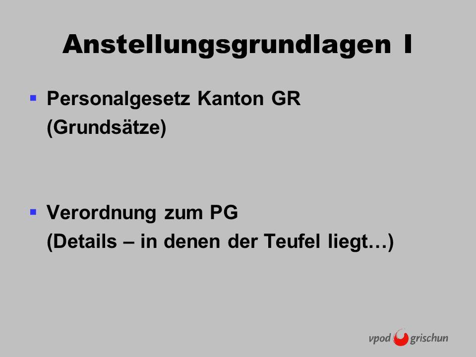 Anstellungsgrundlagen I Personalgesetz Kanton GR (Grundsätze) Verordnung zum PG (Details – in denen der Teufel liegt…)