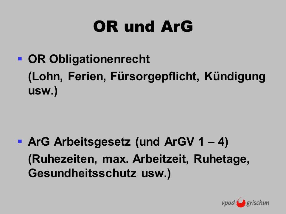 OR und ArG OR Obligationenrecht (Lohn, Ferien, Fürsorgepflicht, Kündigung usw.) ArG Arbeitsgesetz (und ArGV 1 – 4) (Ruhezeiten, max.
