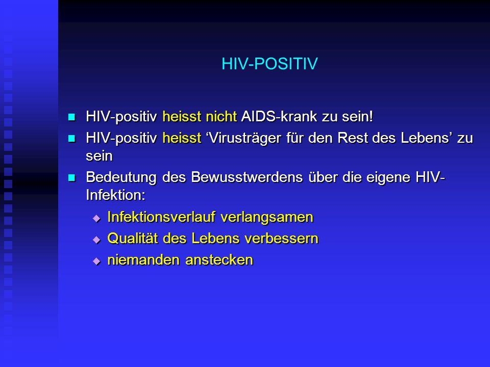 HIV-POSITIV HIV-positiv heisst nicht AIDS-krank zu sein! HIV-positiv heisst nicht AIDS-krank zu sein! HIV-positiv heisst Virusträger für den Rest des