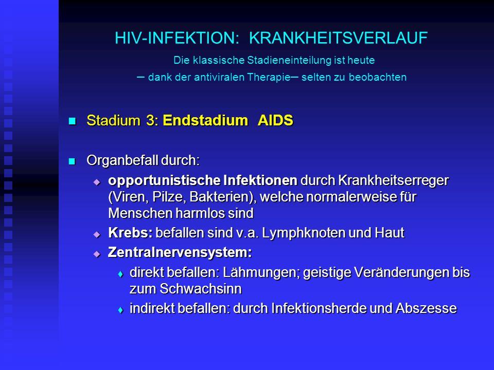 HIV-INFEKTION: KRANKHEITSVERLAUF Die klassische Stadieneinteilung ist heute – dank der antiviralen Therapie – selten zu beobachten Stadium 3: Endstadi