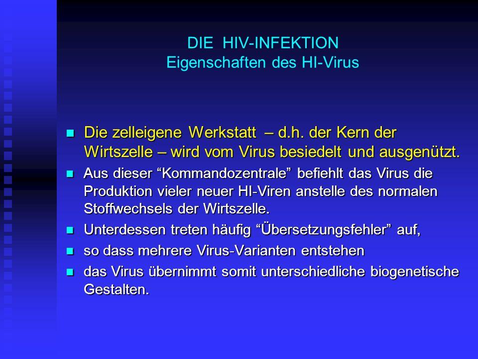 DIE HIV-INFEKTION Eigenschaften des HI-Virus Die zelleigene Werkstatt – d.h. der Kern der Wirtszelle – wird vom Virus besiedelt und ausgenützt. Die ze