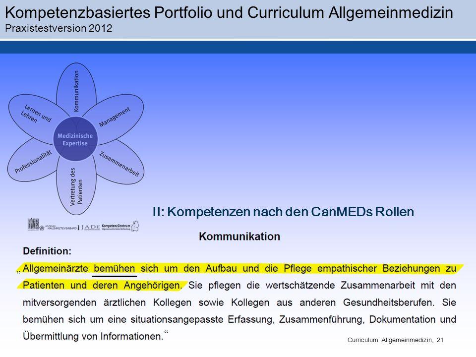Kompetenzbasiertes Portfolio und Curriculum Allgemeinmedizin Praxistestversion 2012 Curriculum Allgemeinmedizin, 21 II: Kompetenzen nach den CanMEDs Rollen
